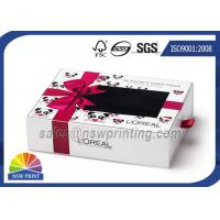 China Cream Packing Rectangle Rigid Paper Box Cardboard Drawer Box With PVC Window wholesale