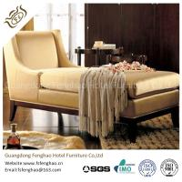 China Wooden Indoor Chaise Lounge Chair Cream Tan Fabric With Transitional Arm Ottoman wholesale