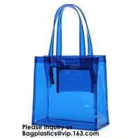 Beach Bag Clear PVC Bag Tote With Inner Pocket And Zipper Closure,PVC Bag Beach Tote With Black Handles, Bagease