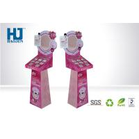 China Fashionable PINK Cosmetic Display Stand Corrugated Display Shelf for Makeup wholesale