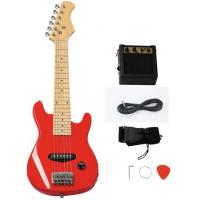 China Custom Wooden Red 30 Inch Mini Electric Toy Guitar Kit For Children wholesale