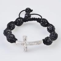 China Low price and best service Tresor Paris Shamballa Crystal Bangle Bracelets with black bead wholesale