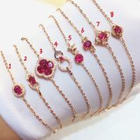Red Gemstone Gold Jewelry Real Ruby And Gold Charm Bracelet For Women