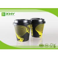 Quality 6oz 80mm Top Eco Friendly Takeaway Coffee Single Wall  Paper Cups with Lids By Flexo Print for sale