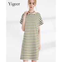 China 100% Cotton Short Sleeve O Neck Parallel Stripe Long Slimming Dress on sale