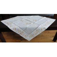 China Cream / Beige Linen Hemstitch Tablecloth Handmade 40x90 40x150cm Sizes wholesale
