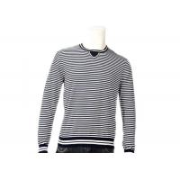 China Striped Jumper Modern Mens Knit Sweater Winter Cotton Long Sleeve In Grey wholesale