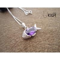 China 100% 925 sterling silver plated with rhodium gemstone pendant with purple zircon W-VB884 wholesale