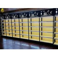 China 25MM MDF Layer Wood Steel Frame Shelves With Advertising Board Led Light Black on sale