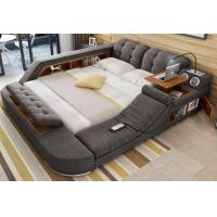 China Grey Color Modular Wooden Bedroom Set Soft Fabric King-Size Double Bed wholesale