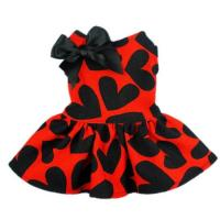 China Red Cloth&Black Heart Pattern Pet Dog Wedding Dresses For Dog wholesale