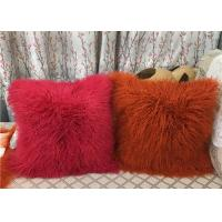 China Long Mongolian sheepskin Pillow Two Toned Tibetan lamb fur cushion pillow cover wholesale