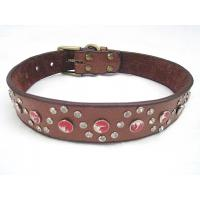 China Genuine leather dog collar with big discount black brown 30pcs/lot wholesale