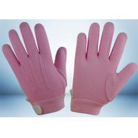 China Dyed Colors Cotton Work Gloves Magic Tape On Wrist 145gsm Fabric Weight wholesale