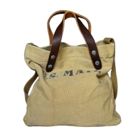China Customized Leather Strap 8OZ Canvas Shoulder Tote Bag wholesale