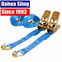 Buy cheap 25mm Blue Motorcycle / Ratchet Tie Down Straps With Double J  Hook 100% Polyester from wholesalers