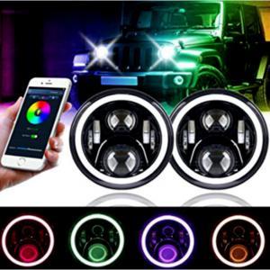 China 3700lm Jeep Wrangler Headlights , 7 Inch Round LED Headlights RGB Halo with Angel Eyes wholesale