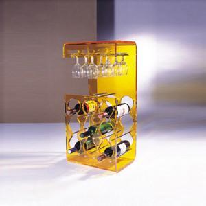 China Yellow Acrylic Display Case Holder Rack For Wine Bottle Shelves wholesale