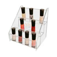 China Clear 3 Tier Acrylic Nail Polish Table Rack Display Counter Stand wholesale