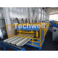 China Customized Trapezoidal Profile Roof Roll Forming Machine With Hydraulic Post Cutting Device wholesale