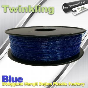 China Blue Color Flexible 3D Printer Filament 1.75 3.0mm Twinkling Filament 200°C - 230°C wholesale