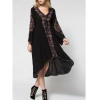 China Balck Lunging Neckline Dress With Embroidered Flowers , High Low Floral Embroidered Dress wholesale