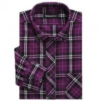 China 100% cotton print flannel men's long sleeve soft collar casual shirts wholesale