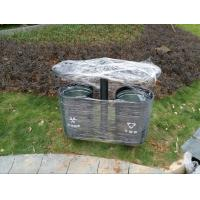 China Metal Material Outdoor Double Garbage Can Eco Friendly Corrosion Resistant wholesale