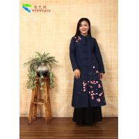 Soft Embroidered Winter Coats , Chinese Garment Jacquard Cotton Trench Coat