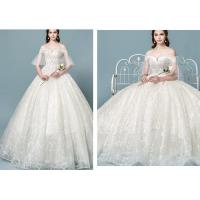 China Lace Champagne Shoulder Princess Ball Gown Wedding Dresses For Wedding Bride wholesale