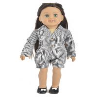 "China 2019 Black Lattice 18"" doll clothes American Gril Doll Coat With Black shorts wholesale"