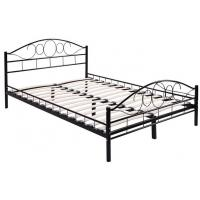 China Durable black Metal Frame Bed / Steel Frame Bed With Wood Slat Contemporary Bedroom Furniture wholesale