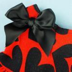 Red Cloth&Black Heart Pattern Pet Dog Wedding Dresses For Dog