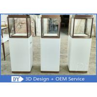 China Luxury Jewellery Shop Display Cabinets Square Matte White Stain Steel Frame wholesale