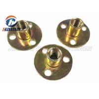 China Zinc plated Round Base T Nut With Three Brad Hole , Tee Nuts Or Furniture Nut wholesale
