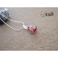 China Fashion Jewelry 100% 925 Sterling Silver Gemstone Pendant with Red Zircon W-VB971 wholesale