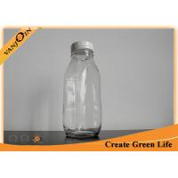 Clear 16oz 500ml French Square Glass Bottles With Screw Cap for Juice / Beverage Packaging