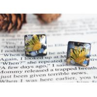 China Van Gogh's Guess Handcrafted Black Square Dry Flower 925 Silver Stud Earrings For Sale wholesale