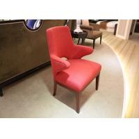 China Red Upholstered Fabric Hotel Room Chairs With Arm / Solid Wood Frame And Legs wholesale