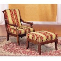 China Fashion  Natural Timber Wood Rubber Armchair With Ottoman , Living Room Lounge Chair wholesale
