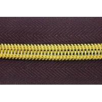 China Long Chain  5#  8# Auto Lock Close End Open End Nylon Tape Gold Teeth zip Zipper Roll wholesale