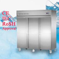 China Deep Commercial Upright Freezer 1600L 6 Glass Doors With Plastic Coated Steel Shelf factory wholesale