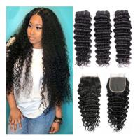 China Comfortable Cambodian Virgin Hair Deep Curly Double Wefting 100 Grams / Piece wholesale
