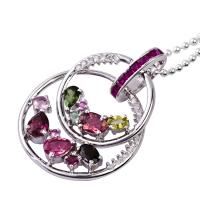 China 2012 new fashion shiny crystal silver gemstone pendant K-BC-C871 OEM service offer wholesale