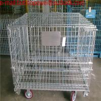 Folding Wire Mesh Containers/ Stackable Storage Cage/ Metal Basket/Folding wire mesh container steel storage cage