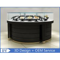 China Curve Wood Black Lighted Jewelry Display Case / Jewellery Display Cabinets wholesale
