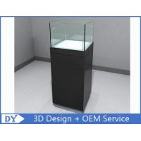China Glossy Black Custom Glass Display Cases , Square Display Pedestals With Cabinet wholesale