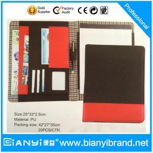 China PU luxury custom padfolio / good quality pu leather zipper compendium folder / logo presen on sale