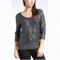 China WOMEN'S 100% ACRYLIC FOIL PRINT CABLE KNITTED SWEATER on sale