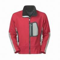 China Men's Outdoor Wear with Waterproof Zipper, Laser Cut Pocket and 3-layer Soft Shell wholesale
